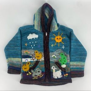 Kids Hooded Zip Sweater Nature Patched Sun Ducks